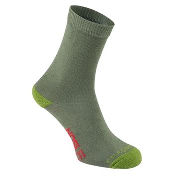Kinder NosiLife Socken Doppelpack Dark Khaki / Spiced Lime