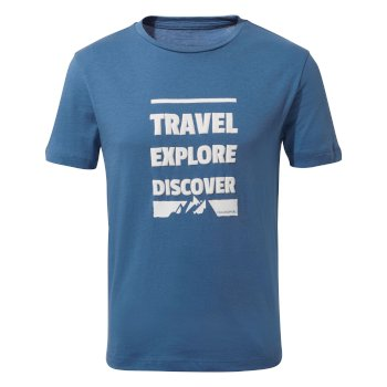 Diego Short-Sleeved T-Shirt Slogan Mountain Delft Blue Slogan Mountain