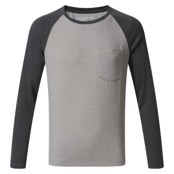 NosiLife Lorenzo Long-Sleeved T-Shirt Black Pepper Marl / Soft Grey Marl