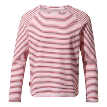 NosiLife Girls Paola Long-Sleeved T-Shirt - Rio Red Stripe