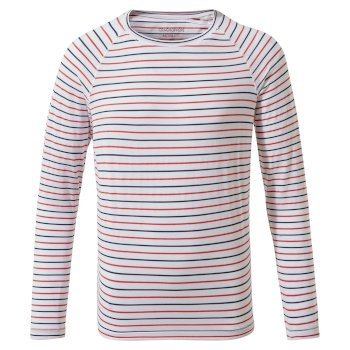 NosiLife Girls Paola Long-Sleeved T-Shirt - Blue Navy / Pompeian Red Stripe
