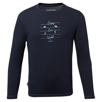 Nosilife Jago Long Sleeved T-Shirt - Blue Navy Print