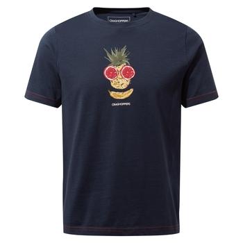 Gibbon Short Sleeved T-Shirt - Blue Navy Fruit Face