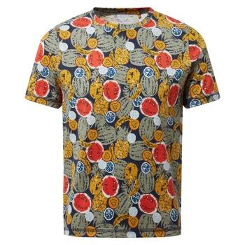 Gibbon Short Sleeved T-Shirt - Blue Navy Fruit Print