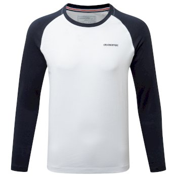 NosiBotanical Abbott Long Sleeved T-Shirt - Optic White / Blue Navy