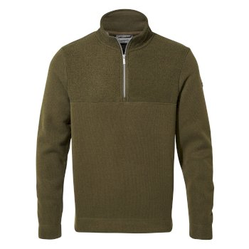Taransay Half-Zip Fleece - Dark Moss / Black Pepper