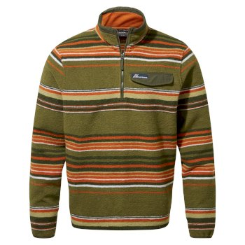 Men's Lionel Half Zip - Dark Moss Stripe