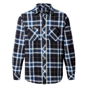 Men's Riffelap Long-Sleeved Shirt - Blue Navy Check