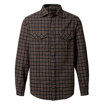 Men's Kiwi Check Long-Sleeved Shirt - Black Pepper Check