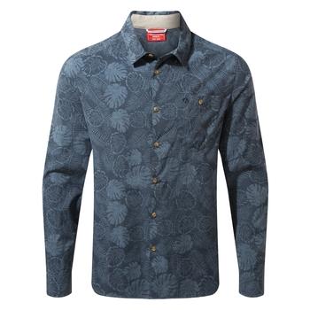 NosiLife Lester Long Sleeved Shirt - Steel Blue Print