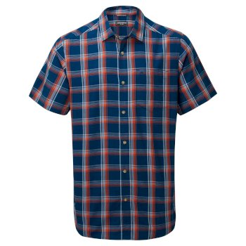 Men's Rafie Short Sleeved Check Shirt - Poseidon Blue Check