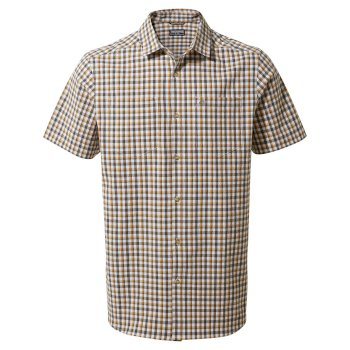 Men's Nour Short Sleeved Check Shirt - Parka Green Check