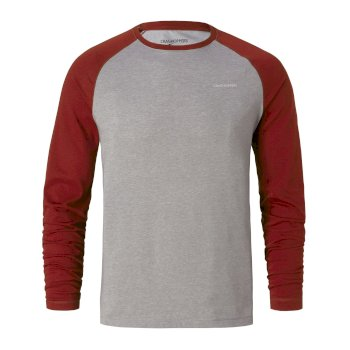 NosiLife Bayame Long-Sleeve T-Shirt - Red Earth / Soft Grey Marl