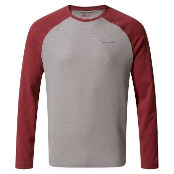 NosiLife Bayame II Shirt - Soft Grey Marl / Firth Red