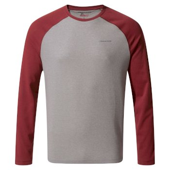 Insect Shield® Bayame II Long-Sleeved T-Shirt - Soft Grey Marl / Firth Red