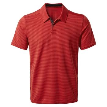 NosiLife Pro Short Sleeved Polo - Pompeian Red Stripe