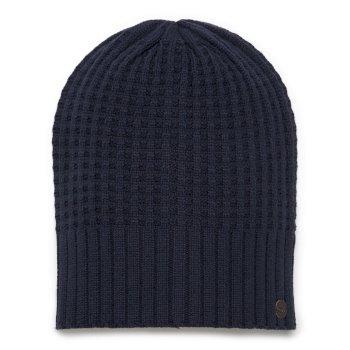 Unisex Brompton Waffle Knit Beanie Hat - Soft Navy