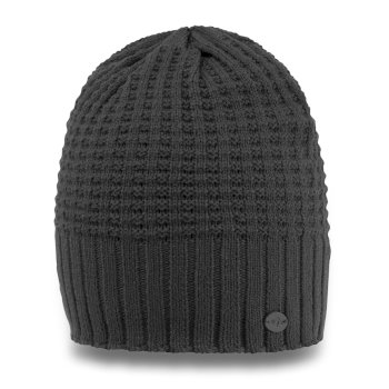 Unisex Brompton Waffle Knit Beanie Hat - Charcoal