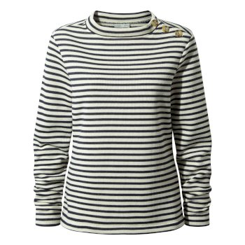 Women's Balmoral Crew Neck Top  - Calico / Blue Navy Stripe