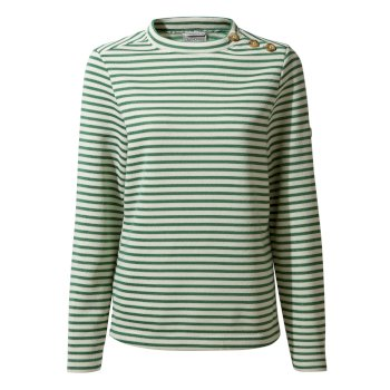 Women's Balmoral Crew Neck Top  - Verde Stripe