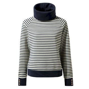 Women's Clova Roll Neck Top - Blue Navy / Blue Navy Stripe