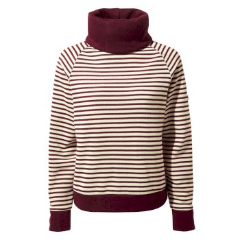 Women's Clova Roll Neck Top - Wildberry / Wildbery Stripe