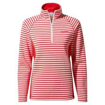 Aisha Half Zip - Rio Red Stripe