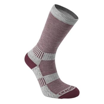 Heat Regulating Travel Sock  - Soft Grey Marl / Wildberry
