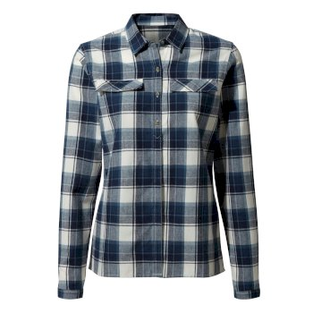 Women's Dauphine Long-Sleeved Shirt - Blue Navy Check