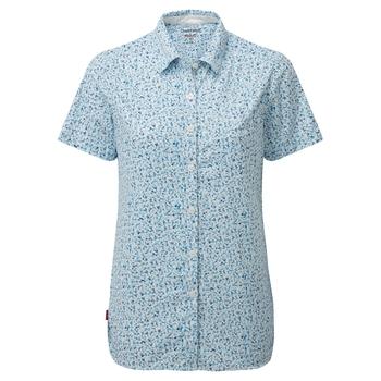 NosiLife Tayma Short Sleeved Shirt - Mediterranean Blue Print