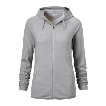 Women's Insect Shield® Sydney Hooded Top - Soft Grey Marl / Black Pepper