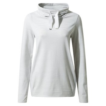 Women's Insect Shield® Adelina Long Sleeved Top - Soft Grey Marl Stripe