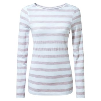 NosiLife Erin Long Sleeved Top - Brushed Lilac Stripe