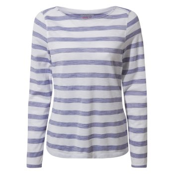 NosiLife Erin Long Sleeved Top - Paradise Blue Stripe