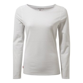 Insect Shield® Erin Long-Sleeved Top    - Soft Grey Stripe