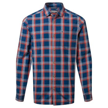 Harvey Long Sleeved Check Shirt - Poseidon Blue Check
