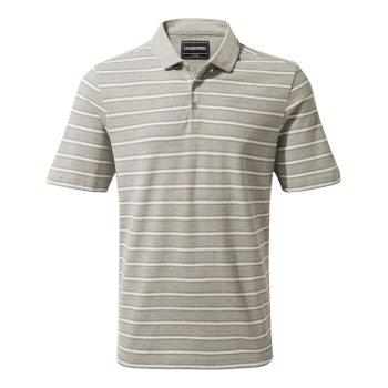 Bruno Short-Sleeved Polo - Soft Grey Marl Stripe