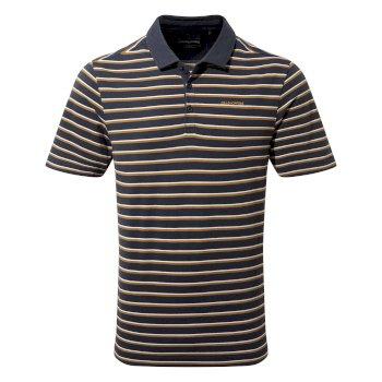 Raul Short Sleeve Polo - Steel Blue Stripe