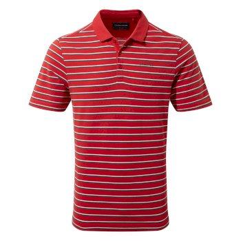 Raul Short Sleeve Polo - Sriracha Stripe