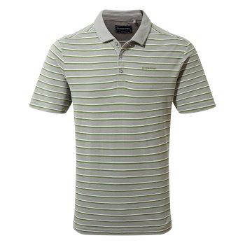 Raul Short Sleeve Polo - Cloud Grey Stripe