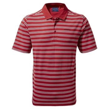 Stanton Short Sleeved Polo - Pompeian Red Stripe