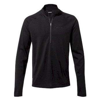 Men's Merino Half-Zip Long-Sleeved Baselayer II - Black