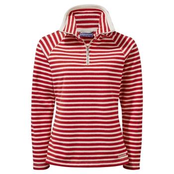 Natalia Half Zip - Pompeian Red Stripe