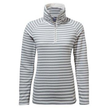 Natalia Half Zip - Cloud Grey Stripe