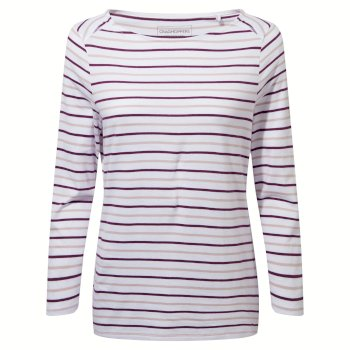 Blanca Long Sleeve Top - Blackcurrant / Brushed Lilac Stripe