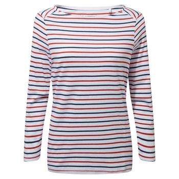 Blanca Long Sleeve Top - Blue Navy / Pompeian Red Stripe