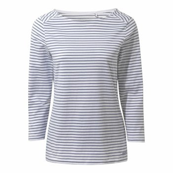 Blanca Long Sleeve Top - Paradise Blue Stripe